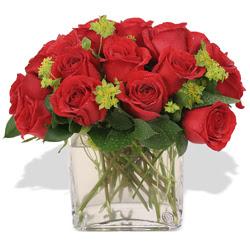 Manisa anneler günü çiçek yolla  10 adet kirmizi gül ve cam yada mika vazo