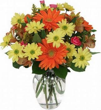 Manisa ucuz çiçek gönder  vazo içerisinde karışık mevsim çiçekleri