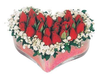 Manisa anneler günü çiçek yolla  mika kalpte kirmizi güller 9