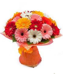 Renkli gerbera buketi  Manisa çiçek , çiçekçi , çiçekçilik