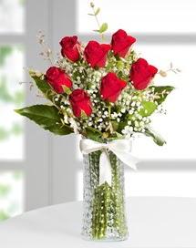 Cam vazoda 7 adet kırmızı gül  Manisa çiçek online çiçek siparişi