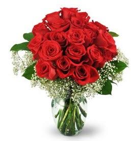 25 adet kırmızı gül cam vazoda  Manisa çiçek online çiçek siparişi