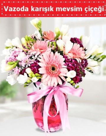 Vazoda karışık mevsim çiçeği  Manisa çiçek online çiçek siparişi