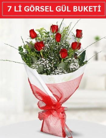 7 adet kırmızı gül buketi Aşk budur  Manisa hediye sevgilime hediye çiçek