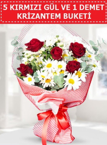 5 adet kırmızı gül ve krizantem buketi  Manisa hediye sevgilime hediye çiçek