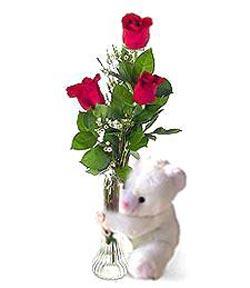 oyuncak ve 3 adet gül  Manisa güvenli kaliteli hızlı çiçek