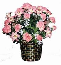yapay karisik çiçek sepeti  Manisa hediye çiçek yolla