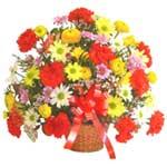 karisik renkli çiçek sepet   Manisa cicekciler , cicek siparisi