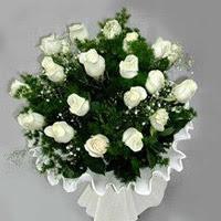 Manisa çiçek mağazası , çiçekçi adresleri  11 adet beyaz gül buketi ve bembeyaz amnbalaj