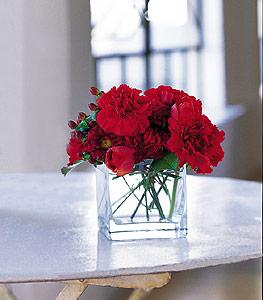 Manisa çiçek servisi , çiçekçi adresleri  kirmizinin sihri cam içinde görsel sade çiçekler