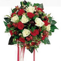 Manisa çiçek servisi , çiçekçi adresleri  6 adet kirmizi 6 adet beyaz ve kir çiçekleri buket