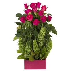 12 adet kirmizi gül aranjmani  Manisa çiçek siparişi sitesi