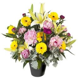 karisik mevsim çiçeklerinden vazo tanzimi  Manisa çiçekçi telefonları