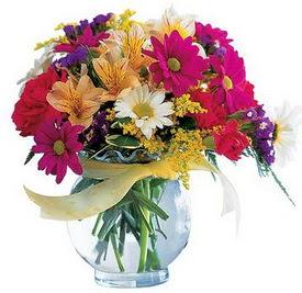 Manisa yurtiçi ve yurtdışı çiçek siparişi  cam yada mika içerisinde karisik mevsim çiçekleri