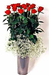 Manisa çiçek yolla  9 adet kirmizi gül cam yada mika vazoda