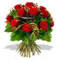 9 adet kirmizi gül ve kir çiçekleri  Manisa yurtiçi ve yurtdışı çiçek siparişi