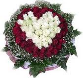 Manisa çiçek siparişi sitesi  27 adet kirmizi ve beyaz gül sepet içinde