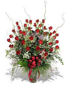 Manisa güvenli kaliteli hızlı çiçek  33 adet kirmizi gül vazo içerisinde