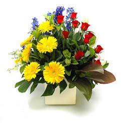 Manisa çiçek gönderme sitemiz güvenlidir  9 adet gül ve kir çiçekleri cam yada mika vazoda