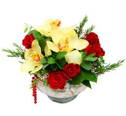 Manisa 14 şubat sevgililer günü çiçek  1 adet orkide 5 adet gül cam yada mikada