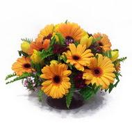 gerbera ve kir çiçek masa aranjmani  Manisa İnternetten çiçek siparişi
