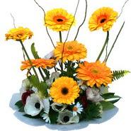 camda gerbera ve mis kokulu kir çiçekleri  Manisa anneler günü çiçek yolla