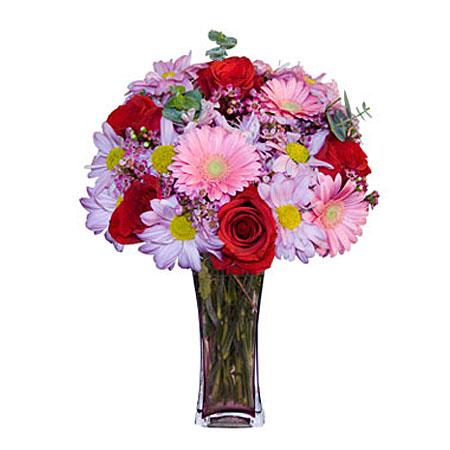 Görsel hediye karisik cam mevsim demeti  Manisa kaliteli taze ve ucuz çiçekler