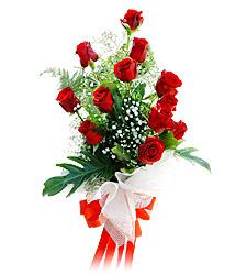11 adet kirmizi güllerden görsel sölen buket  Manisa İnternetten çiçek siparişi