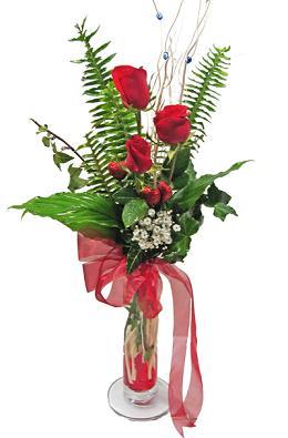 Çiçek gönderin cam vazoda 3 gül çiçekleri  Manisa güvenli kaliteli hızlı çiçek