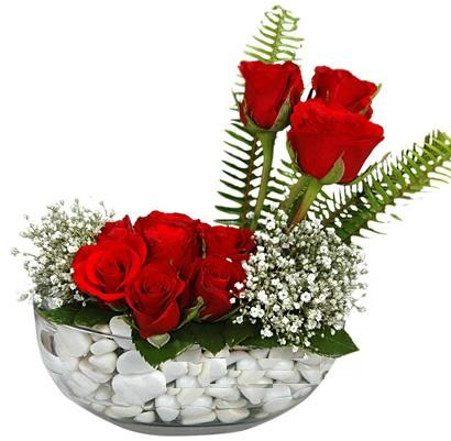 cam içerisinde 9 adet kirmizi gül  Manisa İnternetten çiçek siparişi
