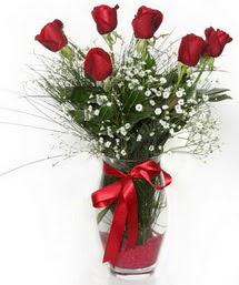 7 adet gülden cam içerisinde güller  Manisa çiçek satışı