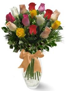 15 adet vazoda renkli gül  Manisa yurtiçi ve yurtdışı çiçek siparişi