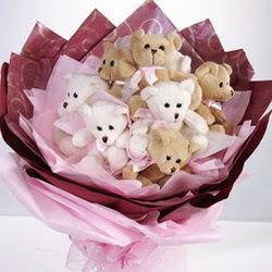 9 adet ayiciktan buket  Manisa çiçek yolla , çiçek gönder , çiçekçi