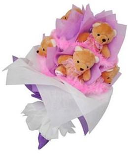 9 adet ayiciktan buket  Manisa ucuz çiçek gönder