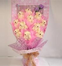 11 adet pelus ayicik buketi  Manisa uluslararası çiçek gönderme