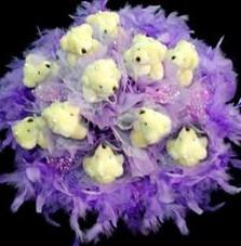 11 adet pelus ayicik buketi  Manisa çiçek online çiçek siparişi