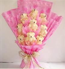 9 adet pelus ayicik buketi  Manisa çiçek , çiçekçi , çiçekçilik