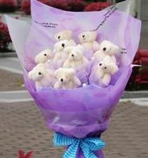11 adet pelus ayicik buketi  Manisa çiçek servisi , çiçekçi adresleri
