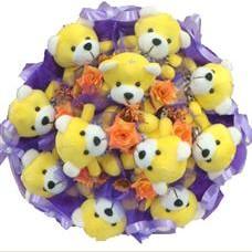 11 adet pelus ayicik buketi  Manisa çiçek siparişi sitesi