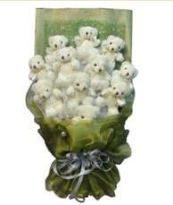 11 adet pelus ayicik buketi  Manisa çiçek gönderme sitemiz güvenlidir