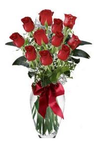 11 adet kirmizi gül vazo mika vazo içinde  Manisa çiçek satışı