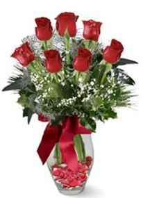Manisa çiçek yolla , çiçek gönder , çiçekçi   7 adet kirmizi gül cam vazo yada mika vazoda
