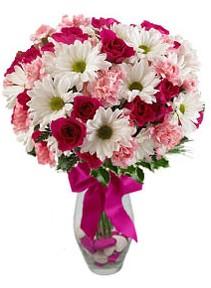 Manisa güvenli kaliteli hızlı çiçek  Karisik mevsim kir çiçegi vazosu