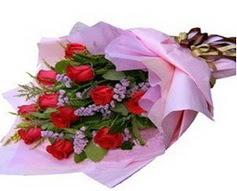 11 adet kirmizi güllerden görsel buket  Manisa cicekciler , cicek siparisi