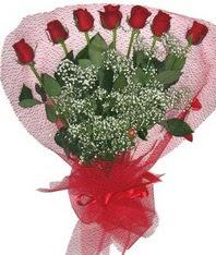 7 adet kipkirmizi gülden görsel buket  Manisa çiçek siparişi sitesi