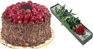 1 adet yas pasta ve 1 adet kutu gül  Manisa çiçekçi telefonları