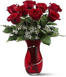 Vazo içinde 8 adet kirmizilar içinde güller  Manisa çiçek yolla , çiçek gönder , çiçekçi