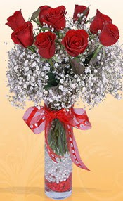 9 adet kirmizi gül cam yada mika vazoda  Manisa çiçek siparişi sitesi