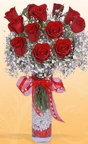 10 adet kirmizi gülden vazo tanzimi  Manisa güvenli kaliteli hızlı çiçek