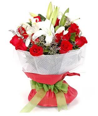 Manisa çiçek mağazası , çiçekçi adresleri  1 dal kazablanka 11 adet kırmızı gül buketi